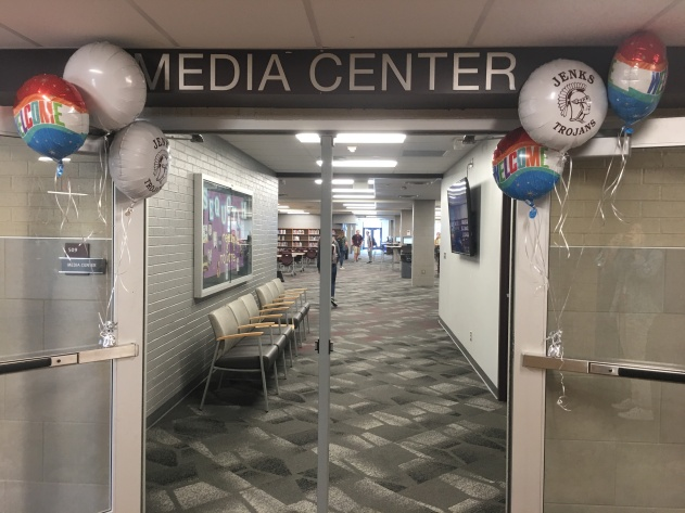 Welcome balloons around every entrance to the library!